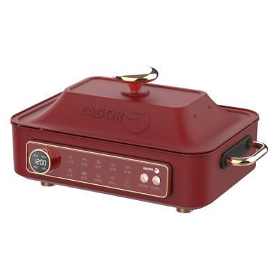 标配(深锅+蒸格+炕纹烤盘)中国红